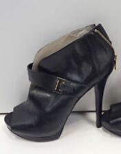 Michael Kors Women's Black Leather Platform Heels 8.5M  Guiliana Peep-Toe Bootie
