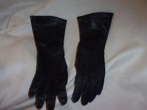 ladies vintage leather Gloves deep dark navy  blue 6 3/4 barbara lee us patent