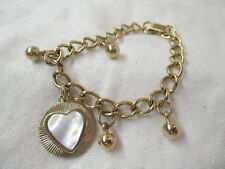 Vintage gold tone Bracelet with Heart shaped Charm MOP insert
