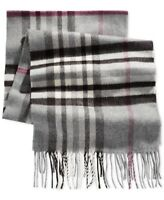 Cashmink by V. Fraas Mens Gray Pink One Size Plaid Fringe Hem Scarf $42 065