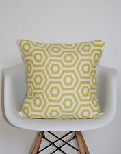 "CUSHION COVERS 18"" PRESTIGIOUS ""HEX"" FABRIC SAFFRON MUSTARD GEOMETRIC YELLOW ~*~"
