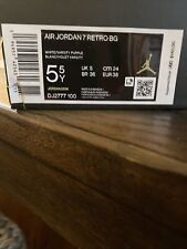 Air Jordan 7 Retro Flint Grey 2021 White/Varsity Purple CU9307-100 5.5 Y