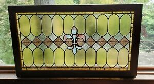 "Antique/Vintage Leaded Stained Glass Window (42"" L) Fully Restored!"