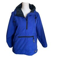 L.L. Bean Women's Thinsulate 1/2 Zip Pullover Hooded Jacket Coat Blue Small