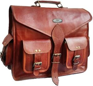 "Extra Extra Large 18"" Handmade Leather Briefcase Messenger Laptop Satchel Bag"
