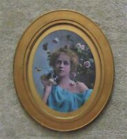 19th c. Romantic Chromolithograph Portrait Girl Woman Lady Antique Victorian