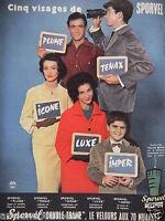 PUBLICITÉ 1958 CINQ VISAGES DE SPORVEL TISSU LATOUR - ADVERTISING