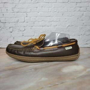 LL Bean Handsewn Slippers Slip On Comfort Flannel Lined 212164 Men Size 10 Brown