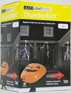 Halloween Gemmy LED Lightshow Projection Sparkling White Thunderbolt & Sound NIB