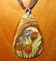 Pendant Field Wood Mouse on Poppy Genuine hand painted STONE signed Gorbachova