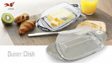 Stainless Steel Butter Dish with Clear Plastic lid Cover and Tongs