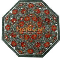 "18"" Marble Coffee Table Top Carnelian Inlay Floral Furniture Kitchen Decor B162"