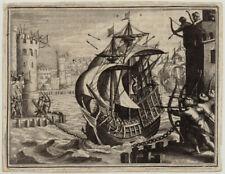 Segelschiff + Hafen Original Merian Kupferstich um1650 Türme Soldaten Hafenstadt