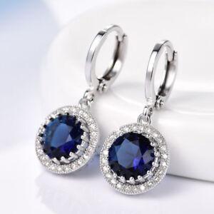 18K White Gold Sapphire Blue Stone and Diamond Dangle Earrings  252