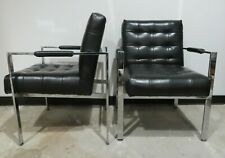 PAIR OF MILO BAUGHMAN / THAYER COGGIN BLACK VINYL FLAT BAR ARMCHAIRS mid century