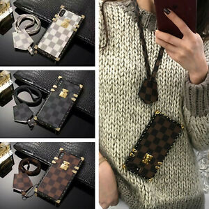 Classic Plaids Metal Corner Square PU Leather Case for Samsung Galaxy S20/8/9/10