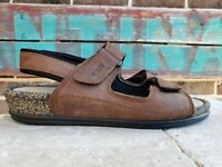 Womens Ecco Cosmo Brown Leather Cork 2 Strap Comfort Sandals Sz 41 US 10 - 10.5