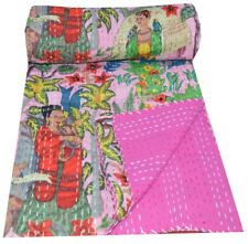 Indian Handmade Twin Cotton Kantha Quilt Throw Blanket Bedspread Pink Bed Cover