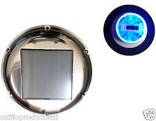 STAINLESS STEEL SOLAR FAN LED BLUE LIGHT HOME,MARINE,BOAT,MOTORHOME & CARAVAN