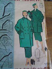 ANCIEN PATRON ECHO DE LA MODE French Pattern 1950 VESTE 3/4 ET JUPE  T 44