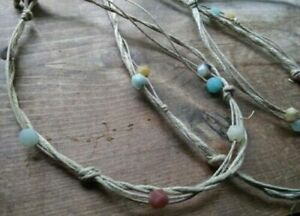 Anklet Hemp Handmade in USA Amazonite Stone Natural Bracelet Hippie Traveler