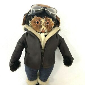 Vintage Rare Abercrombie And Fitch Pilot Owl With Goggles Leather Cap And Jacket