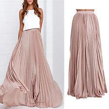 US Womens Summer Chiffon Pleated Long Maxi Elastic Waist Bust Skirt Dress Pink S