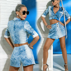 By Alina Mexton Damen 2-Teiler Jeans Jacke Blazer Hotpants Hosenrock Blau XS-M