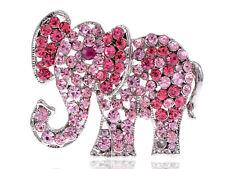 Pink Light Rose Crystal Rhinestone Fashion Jewel Circus Baby Elephant Pin Brooch