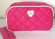 Betsey Johnson Large Loaf Cosmetic Bag Clutch Make up Case Travel Fuchsia NWT