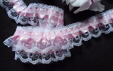 1 1/2  inch wide  Pink/white Ruffled Lace Trim price for 1 yard