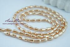 80pcs 6x10mm Champagne Color Acrylic Imitation TearDrop Shape Loose Pearl Beads