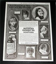 1919 OLD MAGAZINE PRINT AD, MULSIFIED HAIR SHAMPOO, FAMOUS MOVIE STARS AND HAIR!
