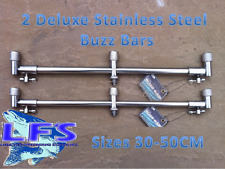 2 Stainless Steel Deluxe Buzz Bars Carp Fishing 30-50cm