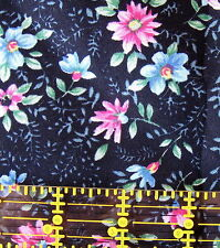 cotton quilt fabric BLACK pink posey floral Fabri-Quilt BTHY calico 1/2