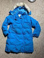 WOMENS LL BEAN GOOSE DOWN PARKA BLUE JACKET W FAUX FUR HOOD BLUE LONG COAT