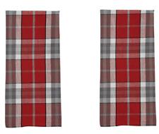 Set/2 Farmhouse Country Gray, Christmas Red, White, Black Plaid Kitchen Towels