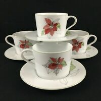 4 VTG Cups and Saucers by Block Spal Watercolors Poinsettia Christmas Portugal