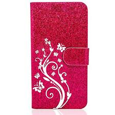 Handy Tasche Flip Cover Schutz Hülle Book Case Handyhülle Blumen Etui Wallet Bag