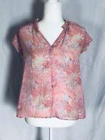 Gap Women's Small Blouse Short Sleeves Ruffle V Neck Multicolored Cotton