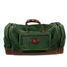 ORVIS Vintage Green Canvas Brown Leather Luggage Travel Gear Duffel Bag Shoulder