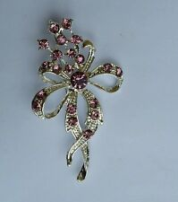 Stunning Silver Plated Flower Brooch Brooch Cake Pin with Pink DIAMANTE XMAS