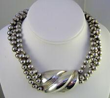 Patricia Von Musulin Sterling Silver Bead Chain Multi Strand Torsade Necklace