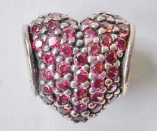 Retired PANDORA Heart-Shaped Ruby Sterling Silver Charm Bead Signed
