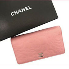 Chanel Wallet Purse Bifold Camellia Pink Woman Authentic Used R544