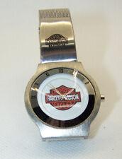 Harley Davidson Watch Women's Slim Silver Band White Face Orange Black Logo RARE