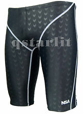 Men Male Racing Competition Fast Skin Swimwear Trunk Jammer Size 36 / 3XL Black