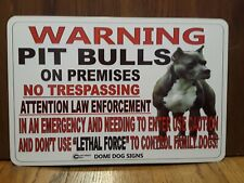 "Metal Warning Pit Bulls Dog Sign For FENCE ,Beware Of Dog 8""x12"" PitBull"