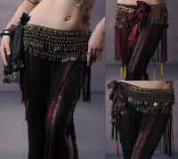 2019 Belly Dance Hip Scarf Belt Tribal Fringe Tassel Belt Copper Coins Skirt