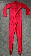 "Red Shiny Lycra Long Sleeved Stirrup Catsuit Dance Unitard Spandex L UK 14 38"""